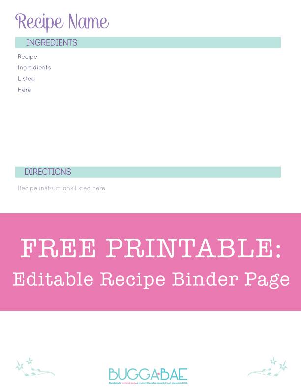 free recipe templates for binders - bugga bae free printable editable recipe binder page